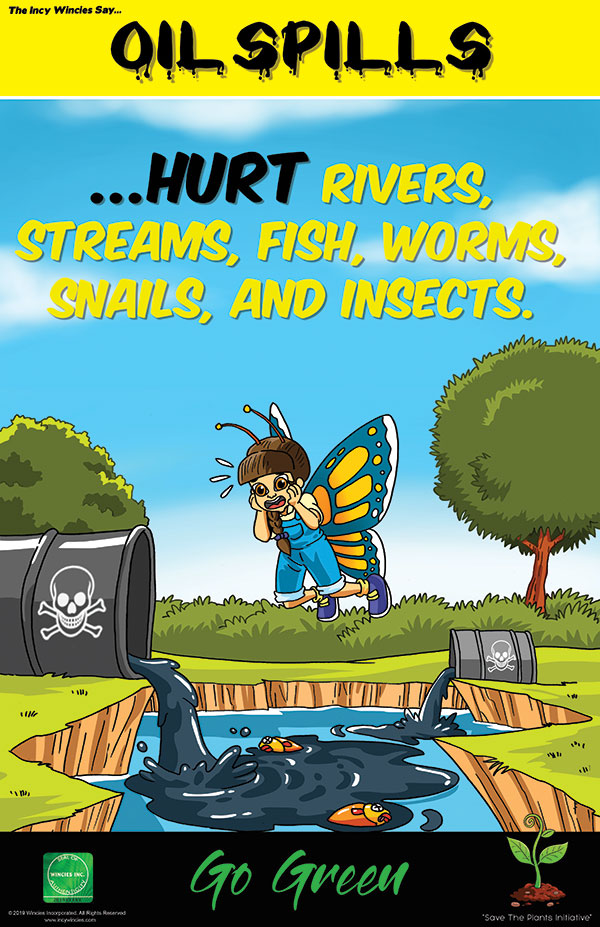 Kids Environmental Posters Oil Spills Focuses On Ecosystem Pollution