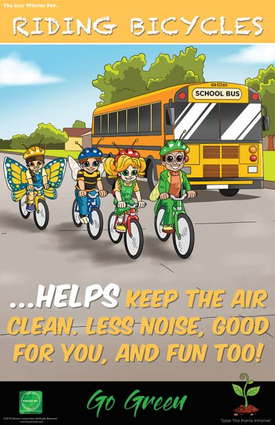 Kids Environmental Poster Riding Bicycles