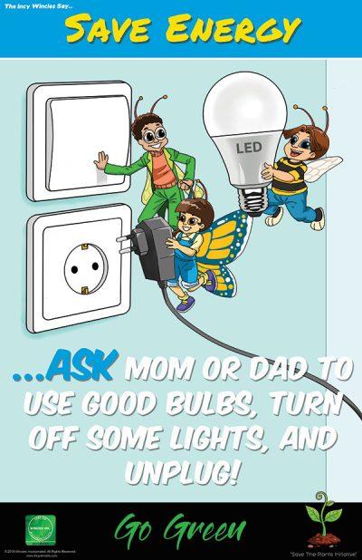 Kids Environmental Poster Save Energy